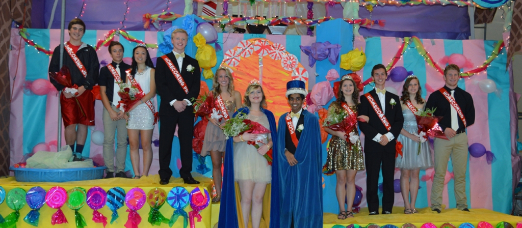Contestants on stage at a pageant