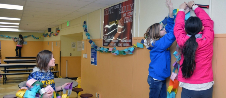 Students decorate the assembly hall
