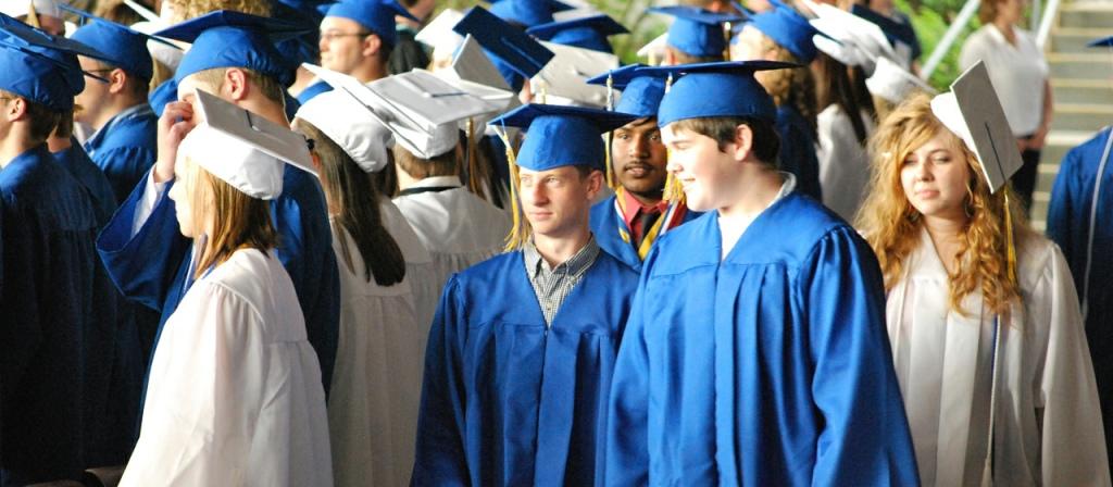 Graduates in blue